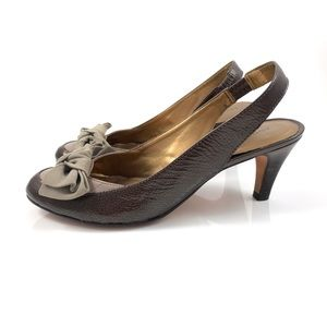 ARTURO CHIANG patent leather sling back suede bow